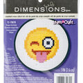 Learn-A-Craft Tongue Out Emoji Mini Counted Cross Stitch Kit-3\u0022