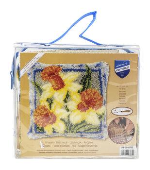 Vervaco Cushion Latch Hook Kit 16''x16''-Daffodils