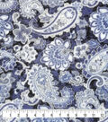Anti-Pill Plush Fleece Fabric-Denim Paisleys