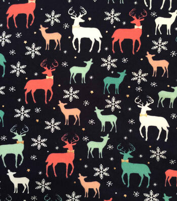 "Doodles Christmas Cotton Fabric 57""-Navy Holiday Deer With Foil"