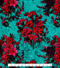 Stretch Panne Velour Fabric 58\u0022-Turquoise & Fuschia Floral