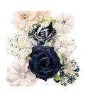 Prima Marketing Georgia Blues Fabric Flowers 9/Pkg-Mitchell