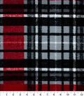 Snuggle Flannel Fabric-Red Gray Distressed Plaid