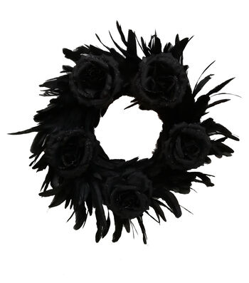 Maker's Halloween Feather Wreath-Black