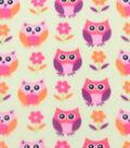 Blizzard Fleece Fabric 59\u0022-Owls And Flowers