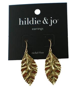 hildie & jo Leaf Earrings-Gold