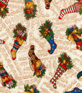 Christmas Cotton Fabric-Patterned Stockings on Music