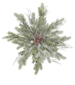 Handmade Holiday Christmas Pine Snowflake Wreath with Pinecones