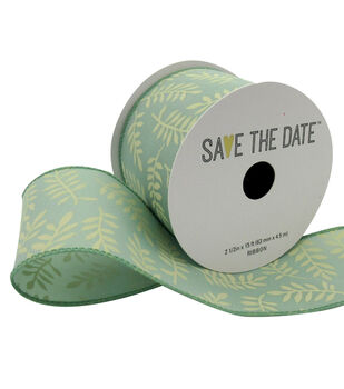 """Save the Date 2.5"""" x 15ft Ribbon-Ivory Fern On Eucalyptus"""