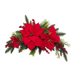 Handmade Holiday Red Water Resistant Poinsettia & Berry Outdoor Swag