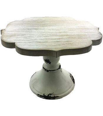 Hampton Art Small Wood Cake Stand with Galvinized Edge-White