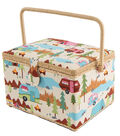 Rectangle Sewing Basket-Camping Motif on Beige