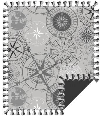 """No Sew Fleece Throw 72""""-Gray Compass"""