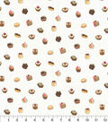 Novelty Cotton Fabric-White Glitter Tiny Sweets