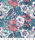 Quilter\u0027s Showcase Cotton Fabric 44\u0027\u0027-Modern Flowers on Gray