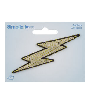 c6b85b1f29e96 Simplicity Lightning Bolt Iron-on Applique with Sequins-Gold