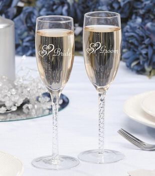 Darice 2pk Bride & Groom Twisted Champagne Glasses