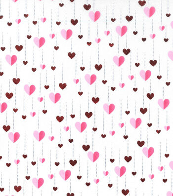 Valentine's Day Cotton Fabric-Foiled Heart Streamers