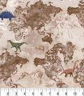 Premium Prints Cotton Fabric 43\u0022-Dinosaur World Map