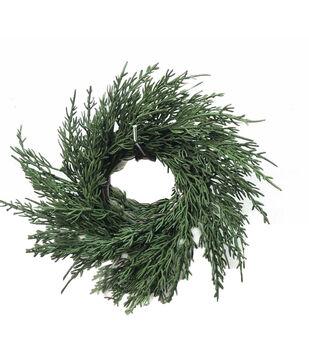 Handmade Holiday Christmas 10'' Cypress Leaf DIY Wreath-Green