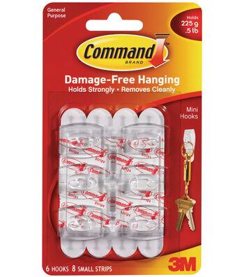 "Command Mini Hooks W/Adhesive (6) 1""X.5""-White"