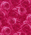 Keepsake Calico Cotton Fabric 43\u0027\u0027-Dark Pink Packed Roses
