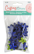 Wood Flower With Purple And Lime Buttons