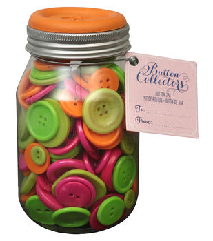 Button Collector Mason Jar-Citrus Mix