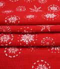 Doodles Christmas Interlock Cotton Fabric -Red Snowflakes Waffle