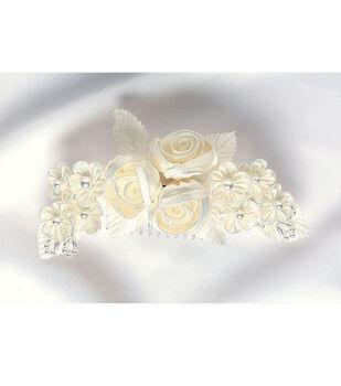"Wilton 7""x3"" Floral Comb Headpiece-Ivory"
