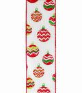 Maker\u0027s Holiday Christmas Ribbon 2.5\u0027\u0027x25\u0027-Ornaments on White