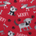 Blizzard Fleece Fabric-Puppies on Red
