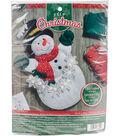 Snowflake Snowman Hanging Felt Applique Kit 16.5\u0022X23\u0022 With String Lights