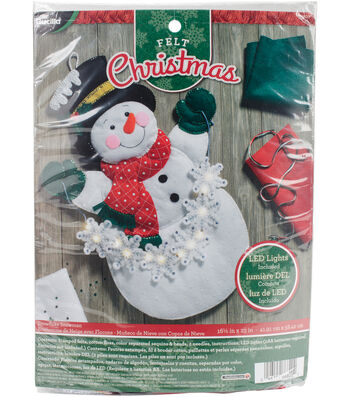 """Snowflake Snowman Hanging Felt Applique Kit 16.5""""X23"""" With String Lights"""