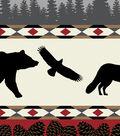 Anti-Pill Fleece Fabric -Bear Fox Aztec