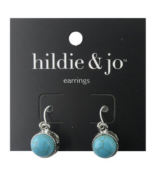 hildie & jo Silver Earrings-Turquoise Stone with Gray Crackle