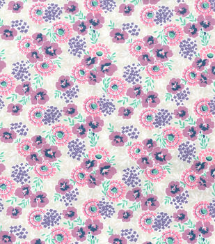 Wide Flannel Fabric -Fuschia Floral On Gray