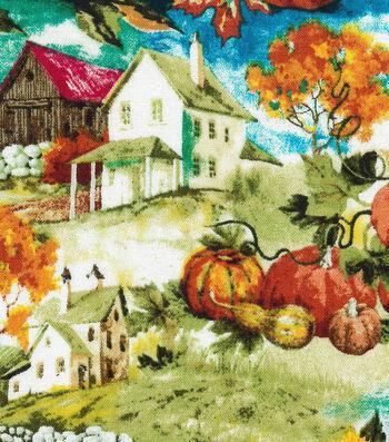 "Harvest Cotton Fabric 44""-Fall Farm Landscape"