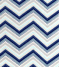 Snuggle Flannel Fabric 42\u0022-Navy Grey Chevron