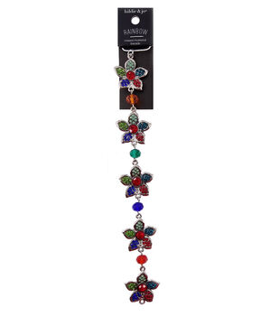 hildie & jo Rainbow Strung Beads-Flower Multi Color Stone Silver