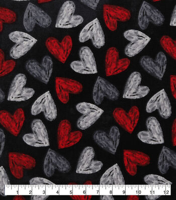 Valentine's Day Cotton Fabric-Chalkboard Hearts