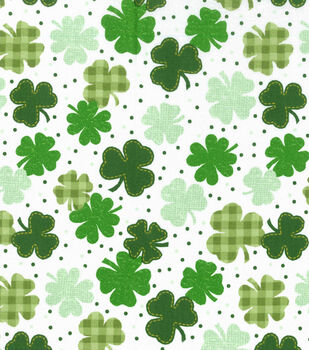Holiday Inspirations St. Patrick's Day Fabric -Gingham Clover