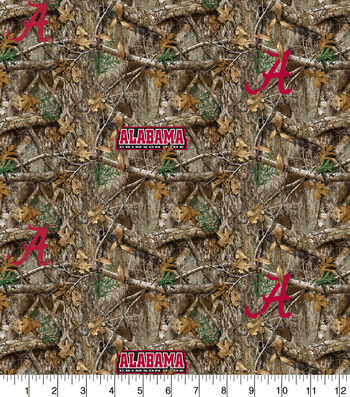 "Alabama Collegiate Realtree Cotton Fabric 42""-Camo & Logo"