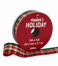 Maker\u0027s Holiday Christmas Ribbon 7/8\u0027\u0027x9\u0027-Hunter Red & Ivory Plaid