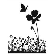 "Embossing Folder 4.25""X5.75""-Butterfly On Flower, , hi-res"