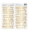 American Crafts Foam Phrases Stickers 120/Pkg-W/Gold Foil