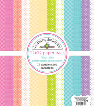 "Doodlebug Petite Prints Double-Sided Cardstock 12""X12""-Fairy Tales"
