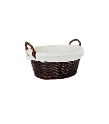 Organizing Essentials Oval Lined Willow Basket with Handles