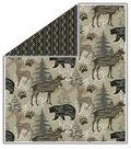 No Sew Fleece Throw-Woodland Animals On Tan