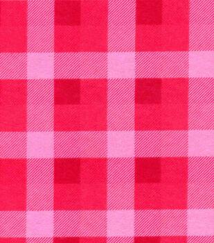 Snuggle Flannel Fabric -Pink Buffalo Checks